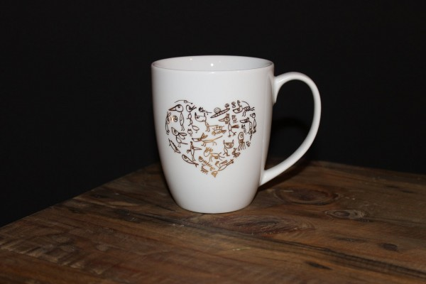 "Echtgold bedruckter Becher ""My funny Valentine"""